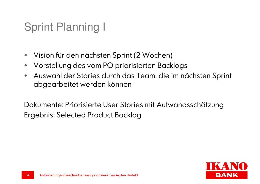 Sprint Planning I