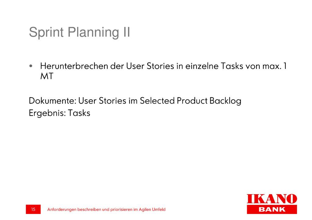 Sprint Planning II