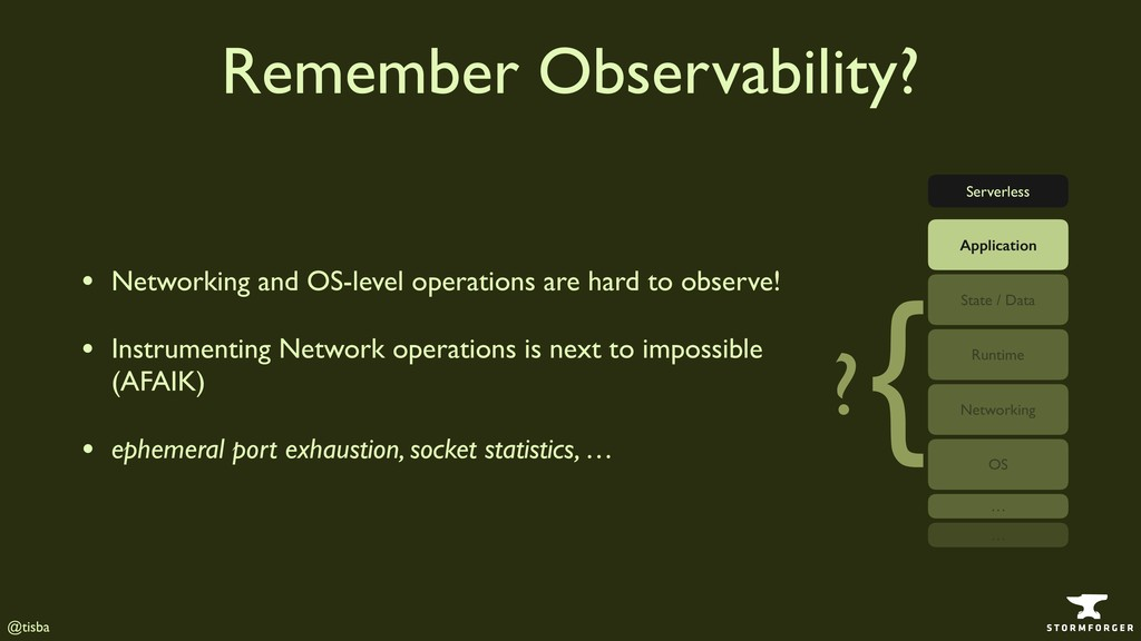 @tisba Remember Observability? • Networking and...
