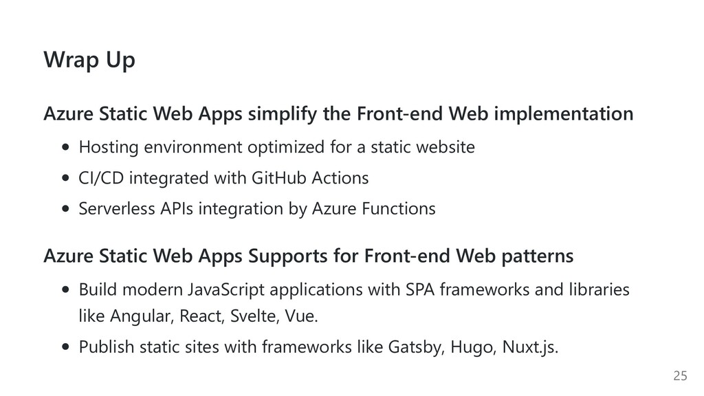 Wrap Up Azure Static Web Apps simplify the Fron...