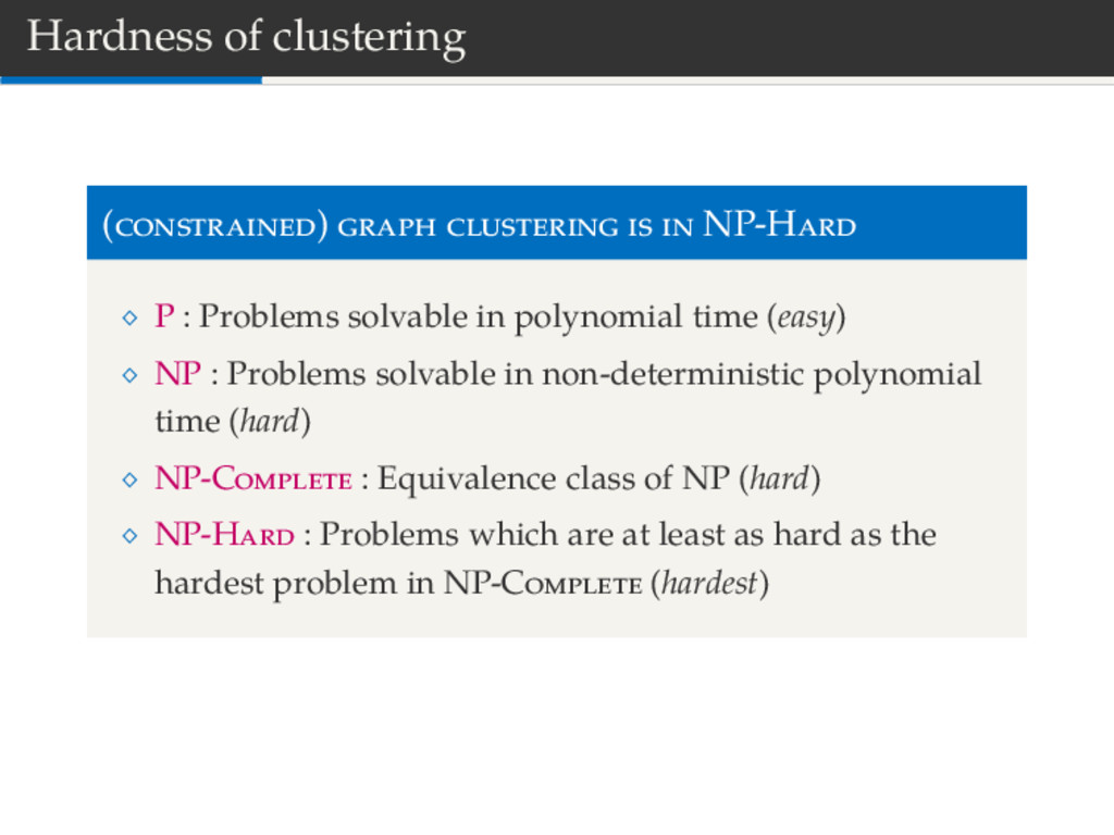 Hardness of clustering ( ) NP-H P : Problems so...