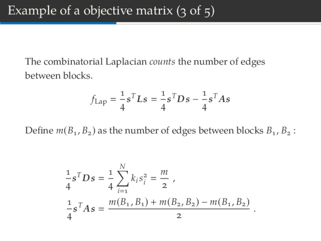 Example of a objective matrix ( of ) The combin...