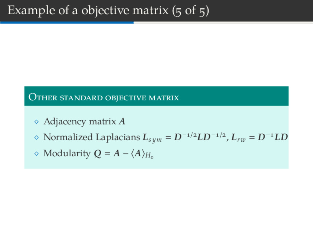 Example of a objective matrix ( of ) O Adjacenc...