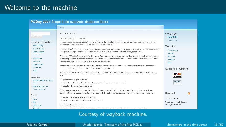 Welcome to the machine Courtesy of wayback mach...