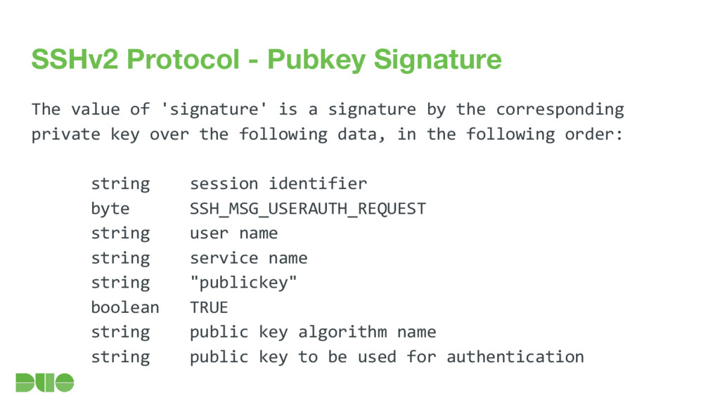 SSHv2 Protocol - Pubkey Signature The value of ...