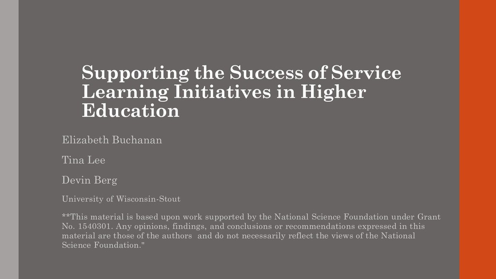 Supporting the Success of Service Learning Init...