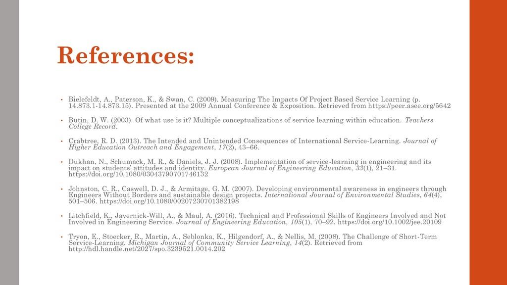 References: • Bielefeldt, A., Paterson, K., & S...