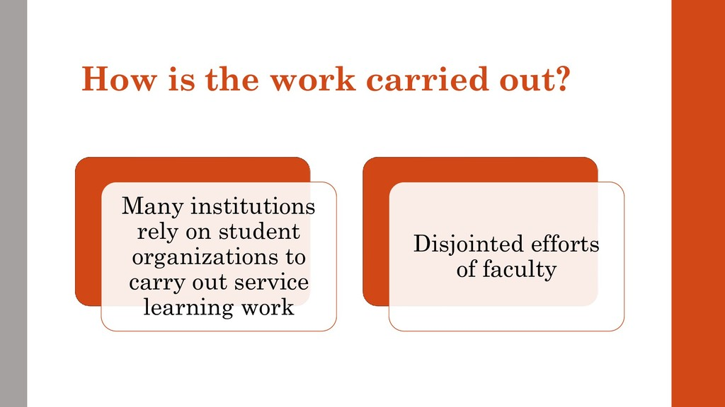 How is the work carried out? Many institutions ...