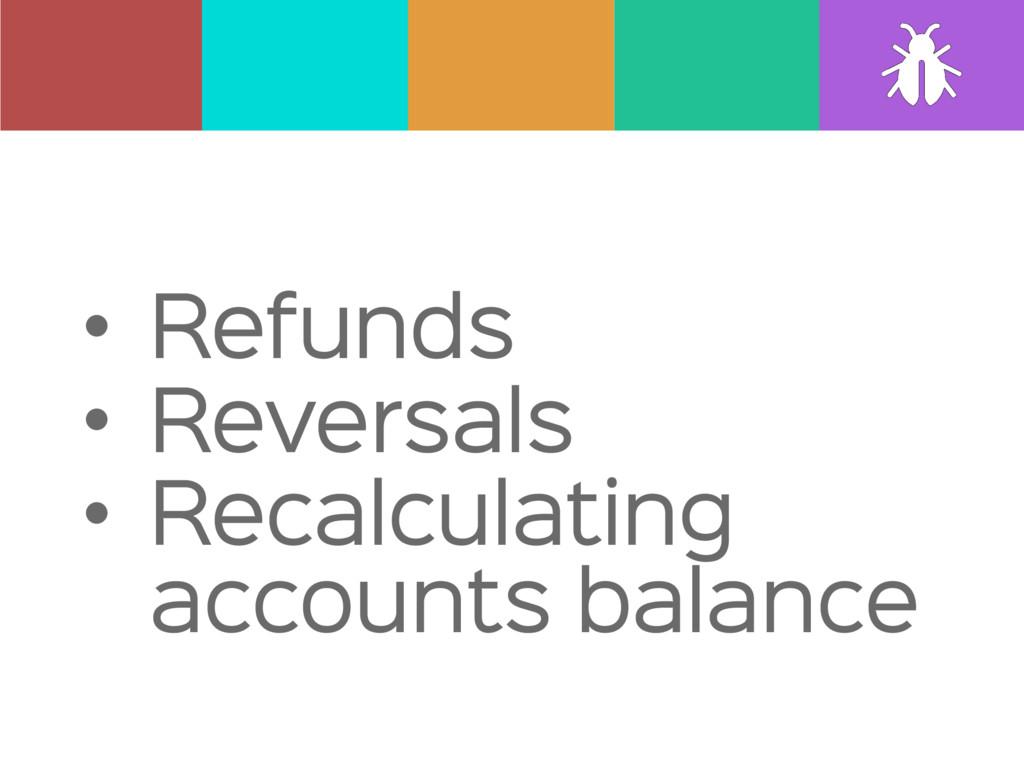• Refunds  • Reversals  • Recalculating account...