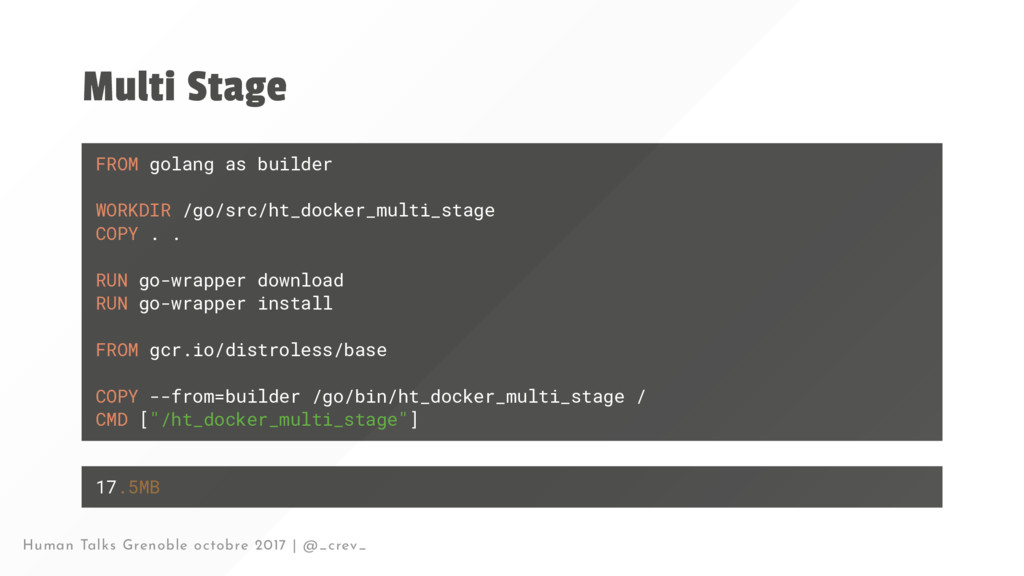 Multi Stage FROM golang as builder WORKDIR /go/...