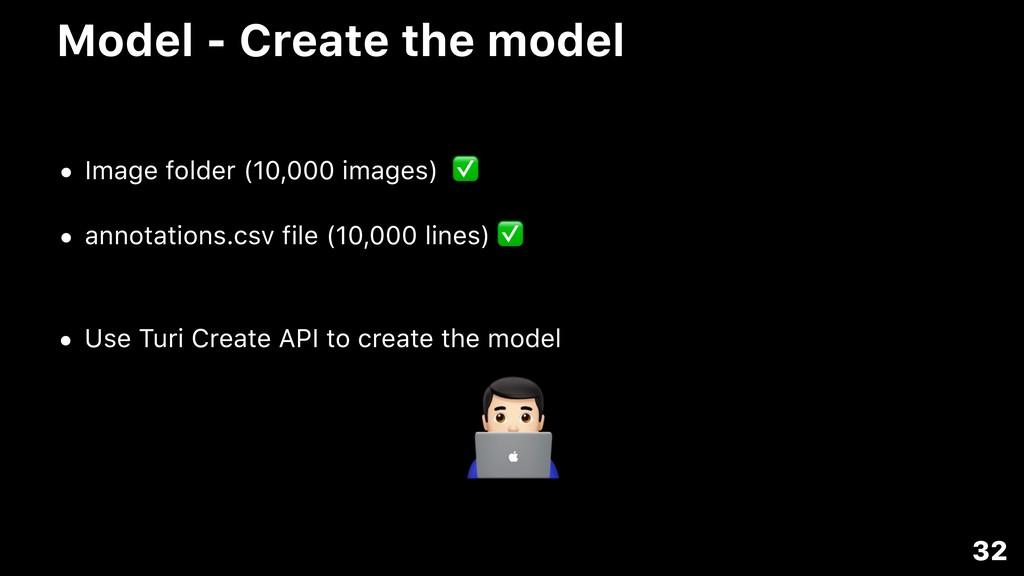 Model - Create the model • Image folder (10,000...