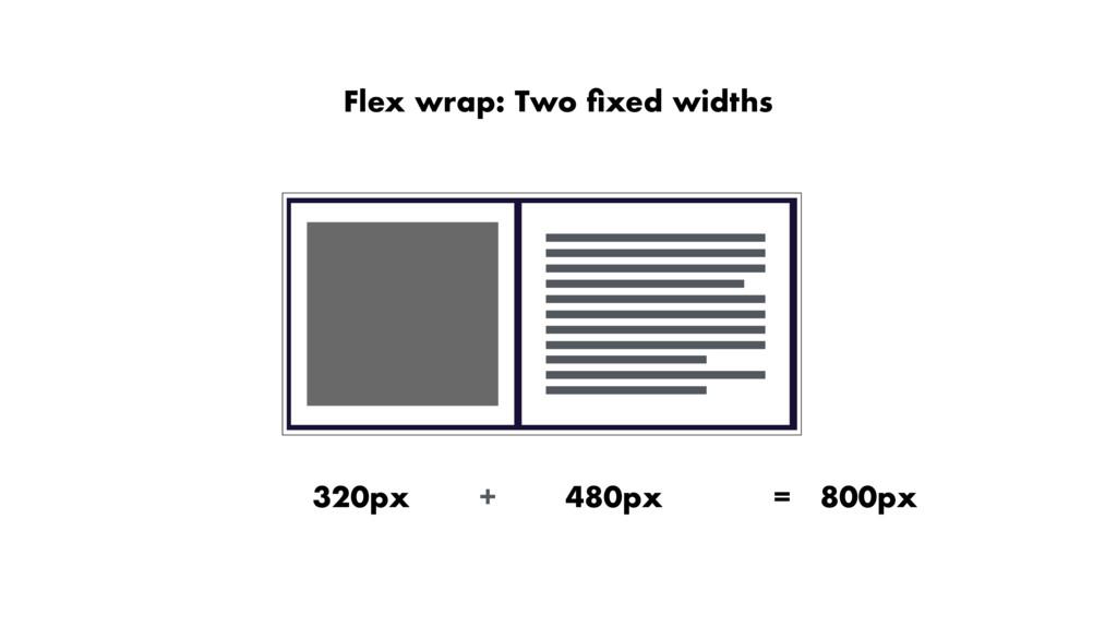 Flex wrap: Two fixed widths 320px 480px = 800px +