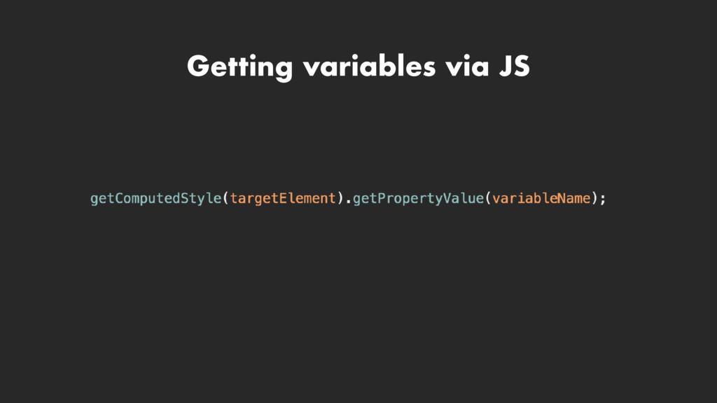 Getting variables via JS