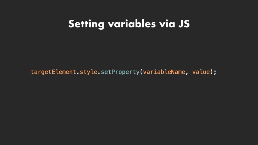 Setting variables via JS