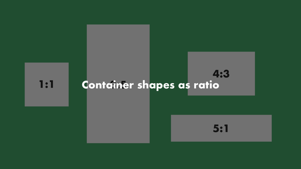 1:1 3:5 4:3 5:1 Container shapes as ratio