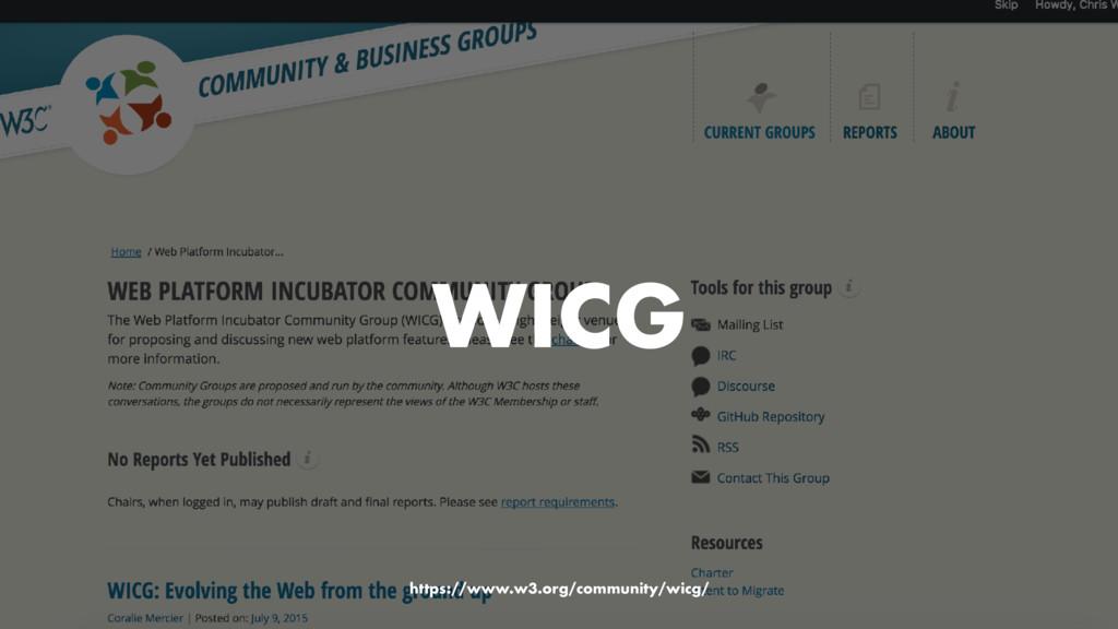 WICG https://www.w3.org/community/wicg/