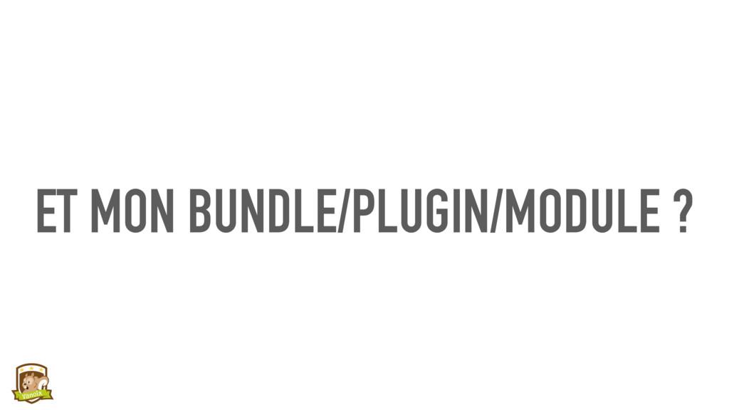 ET MON BUNDLE/PLUGIN/MODULE ?
