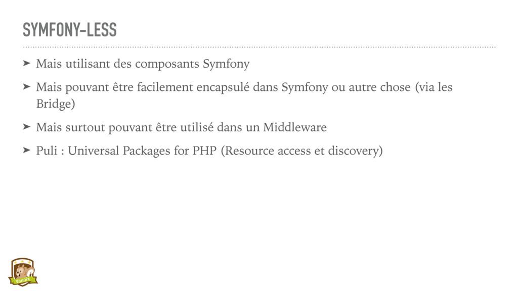 SYMFONY-LESS ➤ Mais utilisant des composants Sy...