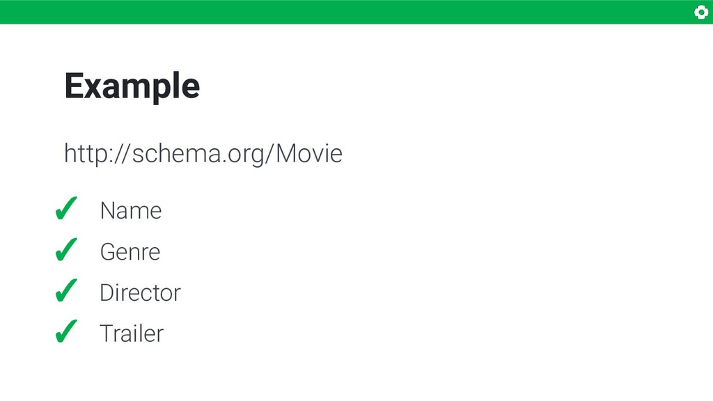 Example ✓ Name ✓ Genre ✓ Director ✓ Trailer htt...