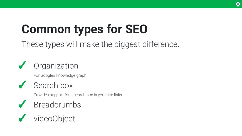Common types for SEO ✓ Organization For Google'...