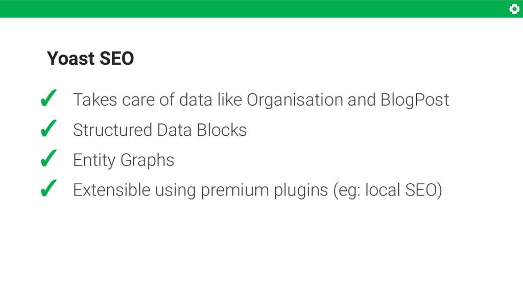 Yoast SEO ✓ Takes care of data like Organisatio...