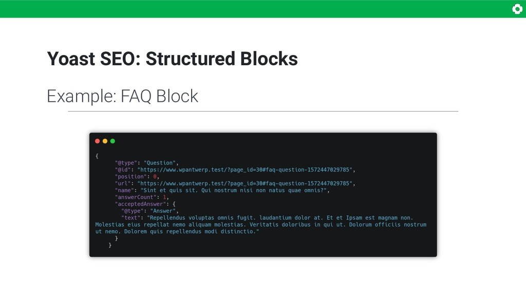 Yoast SEO: Structured Blocks Example: FAQ Block