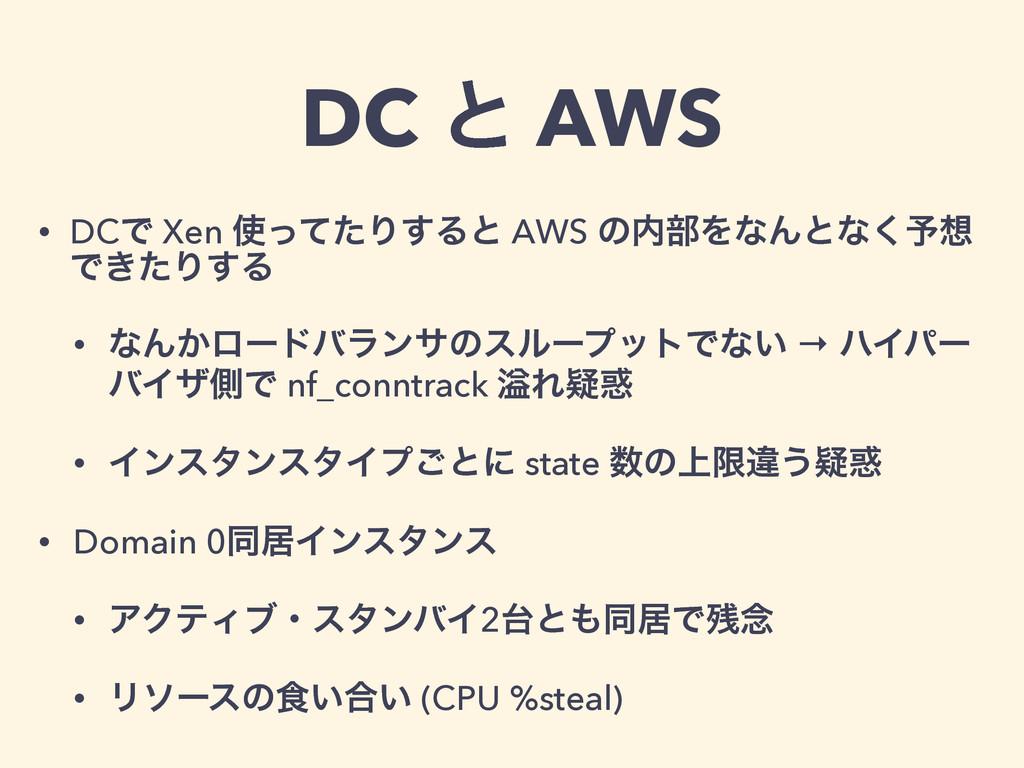 DC ͱ AWS • DCͰ Xen ͬͯͨΓ͢Δͱ AWS ͷ෦ΛͳΜͱͳ͘༧ Ͱ͖ͨ...