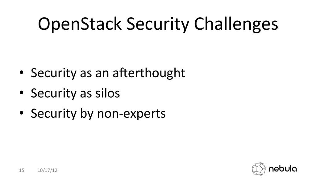 OpenStack Security Challenges  • Secu...