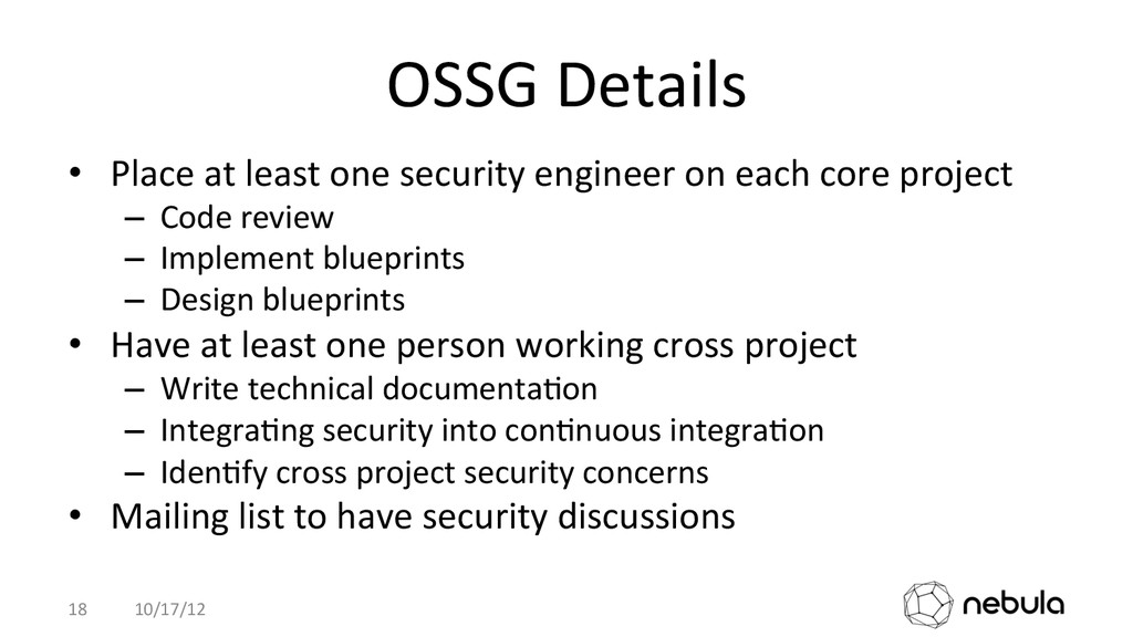 OSSG Details  • Place at least ...