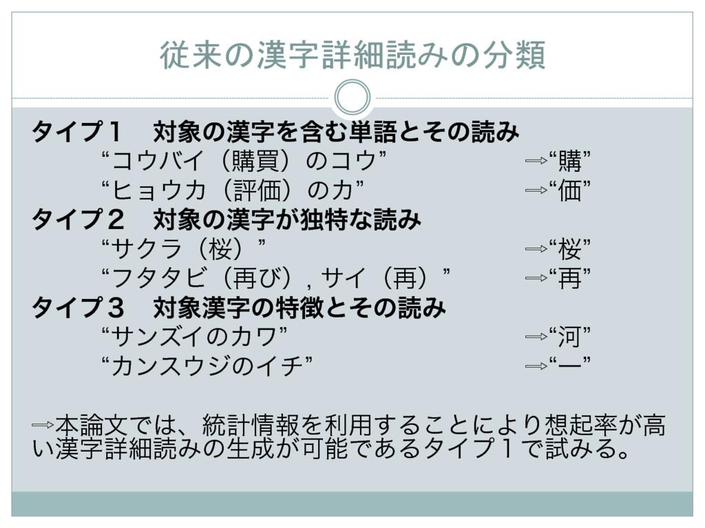 従来の漢字詳細読みの分類 λΠϓ̍ɹରͷΛؚΉ୯ޠͱͦͷಡΈ lίόΠʢߪങʣ...