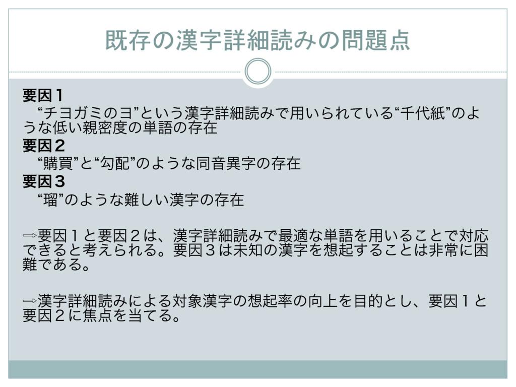既存の漢字詳細読みの問題点 ཁҼ̍ ɹlνϤΨϛͷϤzͱ͍͏ৄࡉಡΈͰ༻͍ΒΕ͍ͯΔ...