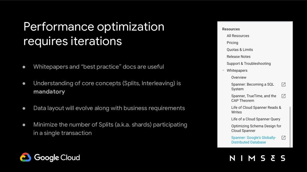 Performance optimization requires iterations ● ...