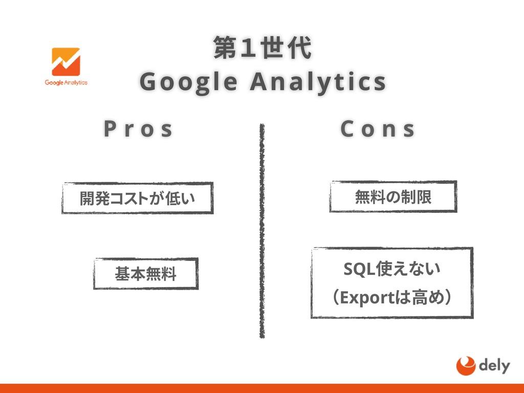第1世代 Google Analytics 開発コストが低い 無料の制限 P r o s C ...