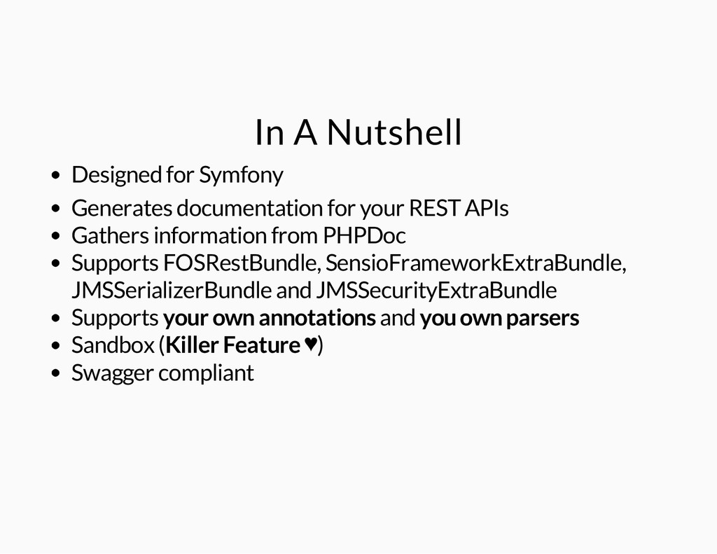 In A Nutshell Designed for Symfony Generates do...