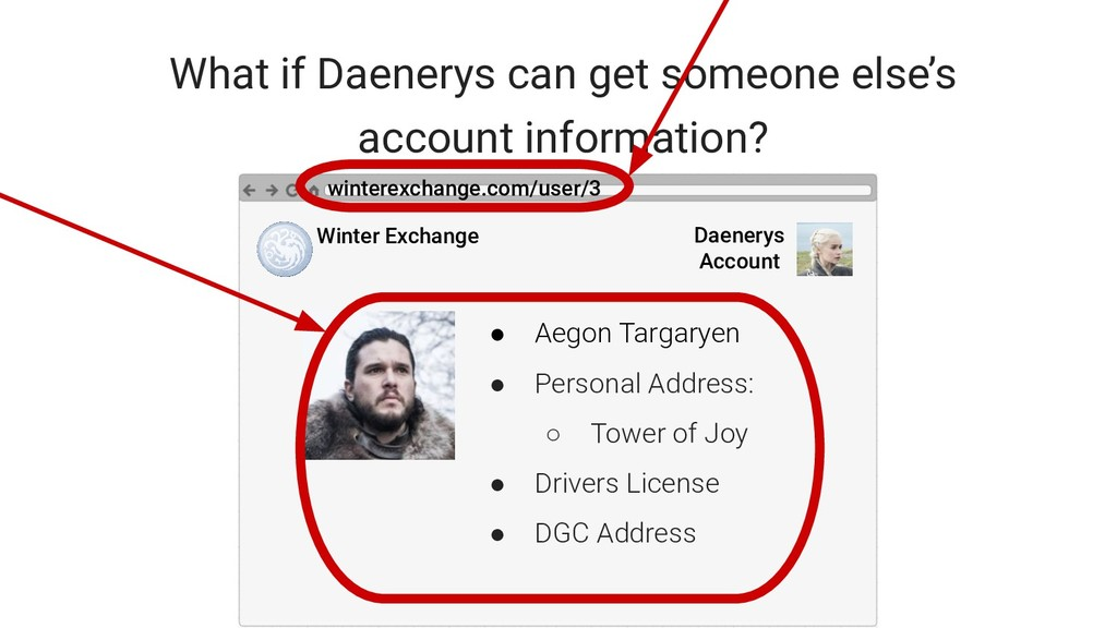 What if Daenerys can get someone else's account...