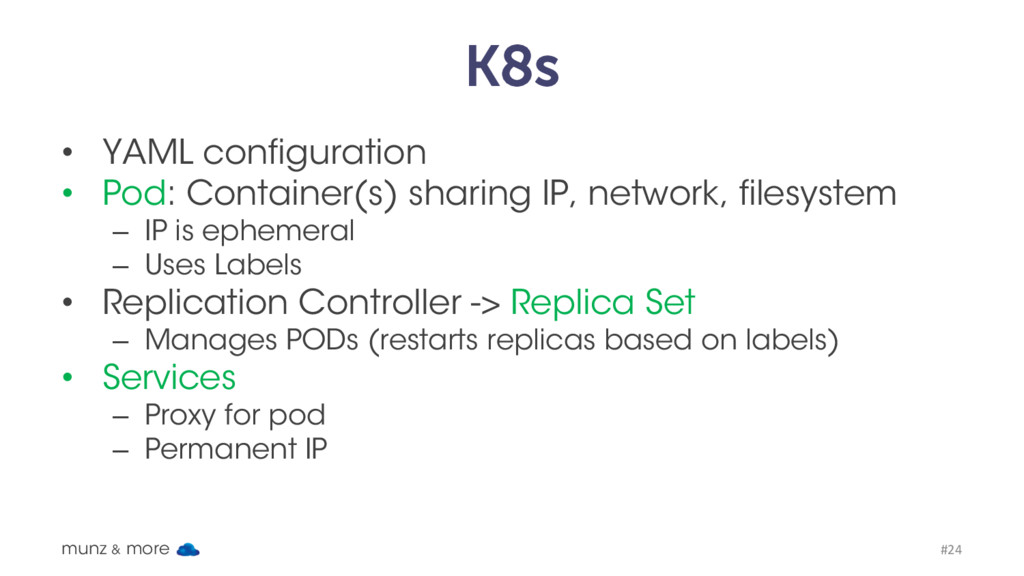 K8s • YAML configuration • Pod: Container(s) sh...