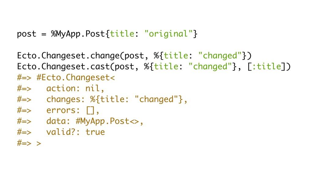 "post = %MyApp.Post{title: ""original""} Ecto.Chan..."