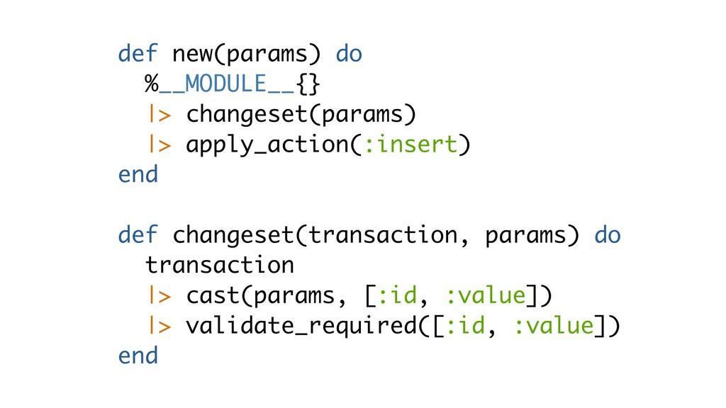 def new(params) do %__MODULE__{}  > changeset(p...