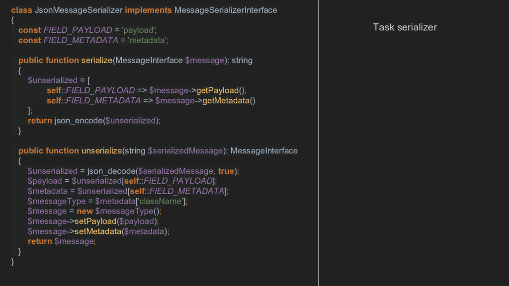 class JsonMessageSerializer implements MessageS...
