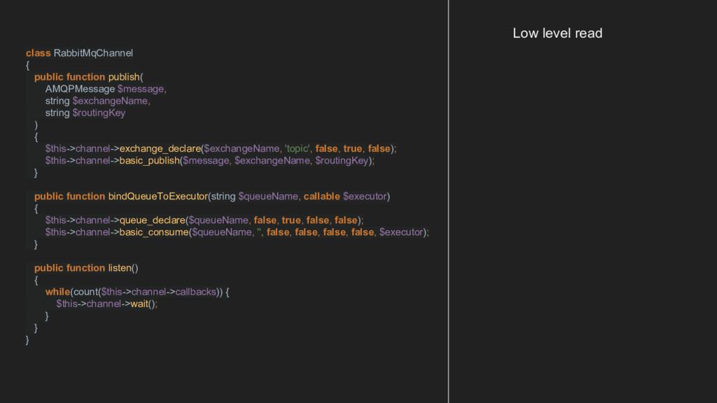 class RabbitMqChannel { public function publish...