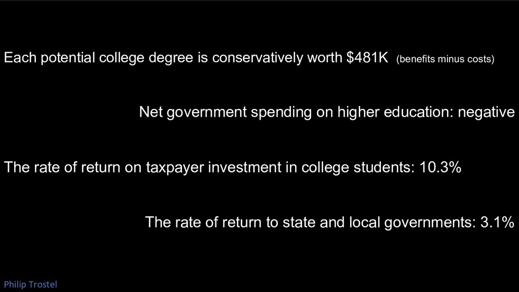 Each potential college degree is conservatively...