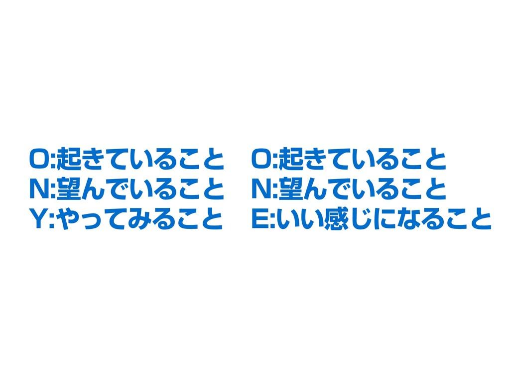 O:起きていること N:望んでいること Y:やってみること O:起きていること N:望んでいる...