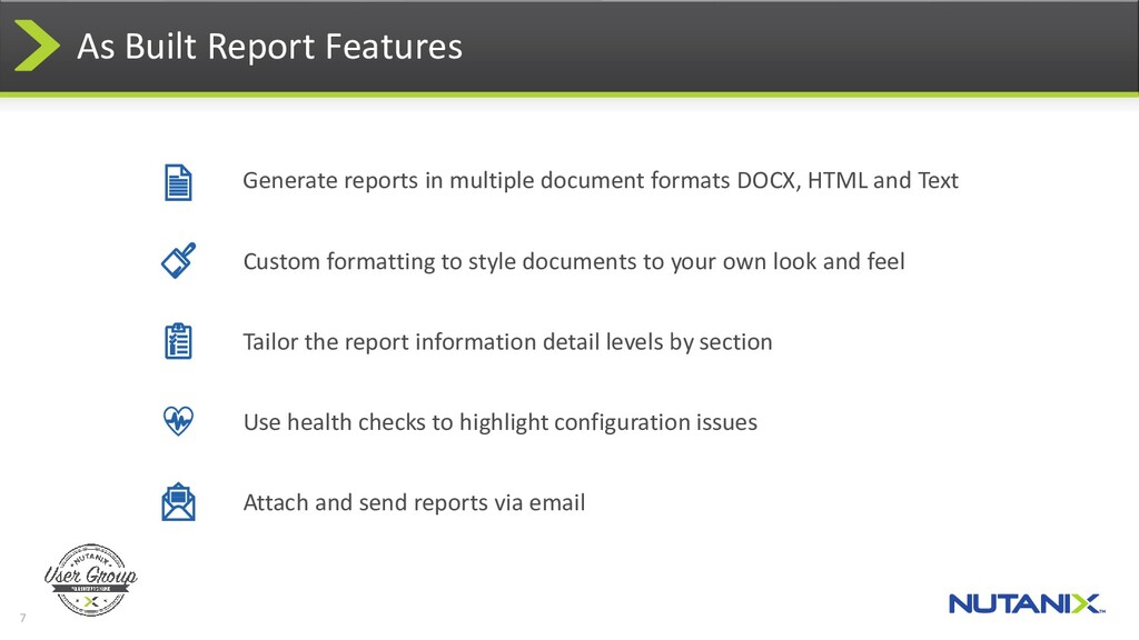 7 As Built Report Features Generate reports in ...