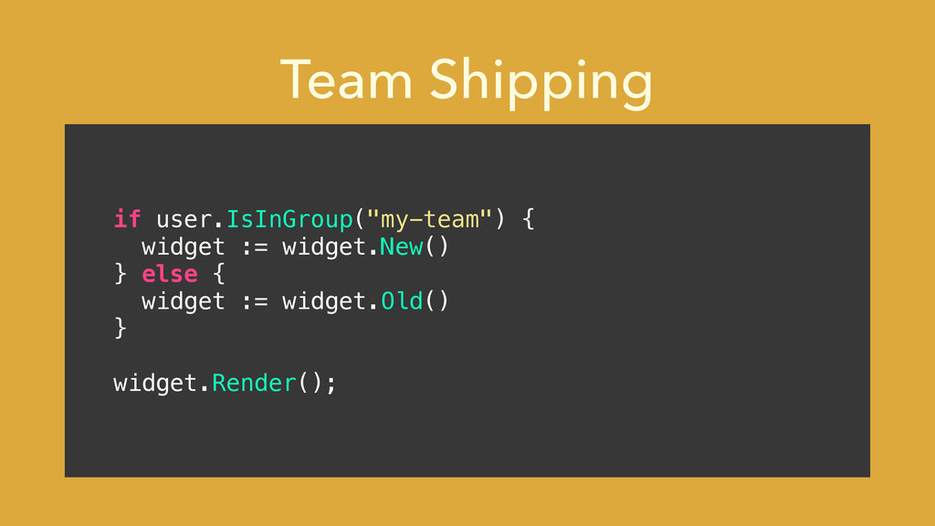 "Team Shipping if user.IsInGroup(""my-team"") { wi..."