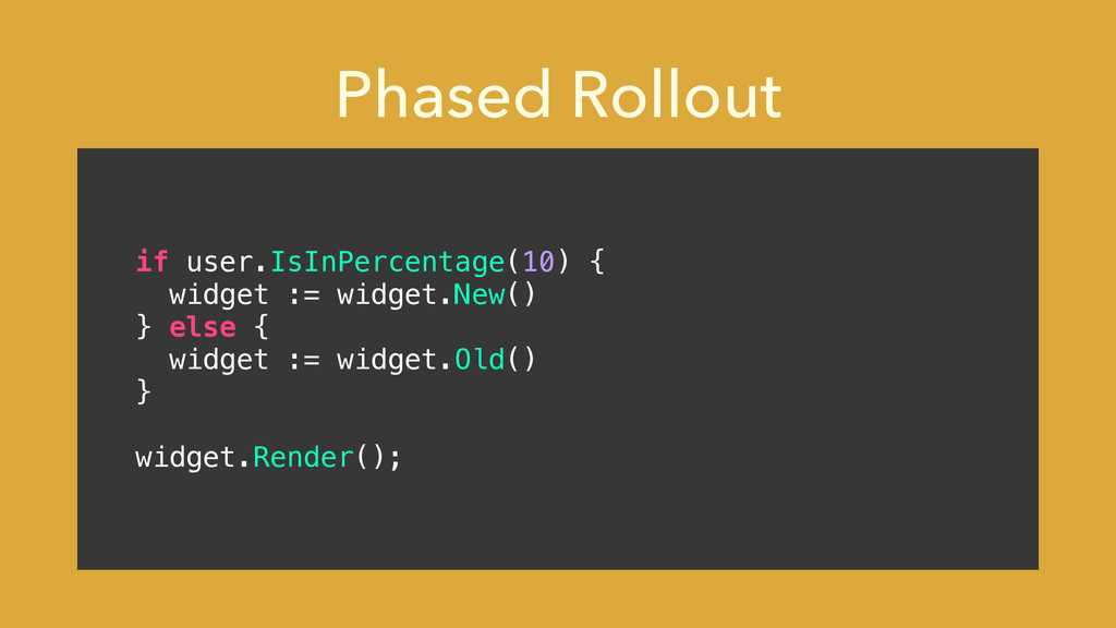 Phased Rollout if user.IsInPercentage(10) { wid...