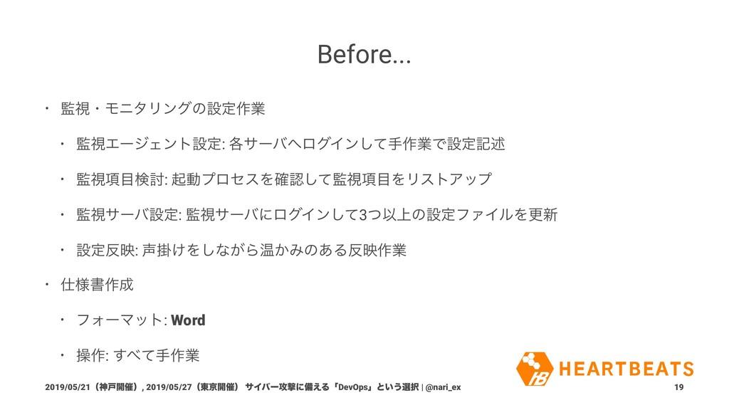 Before... • ࢹɾϞχλϦϯάͷઃఆ࡞ۀ • ࢹΤʔδΣϯτઃఆ: ֤αʔόϩ...