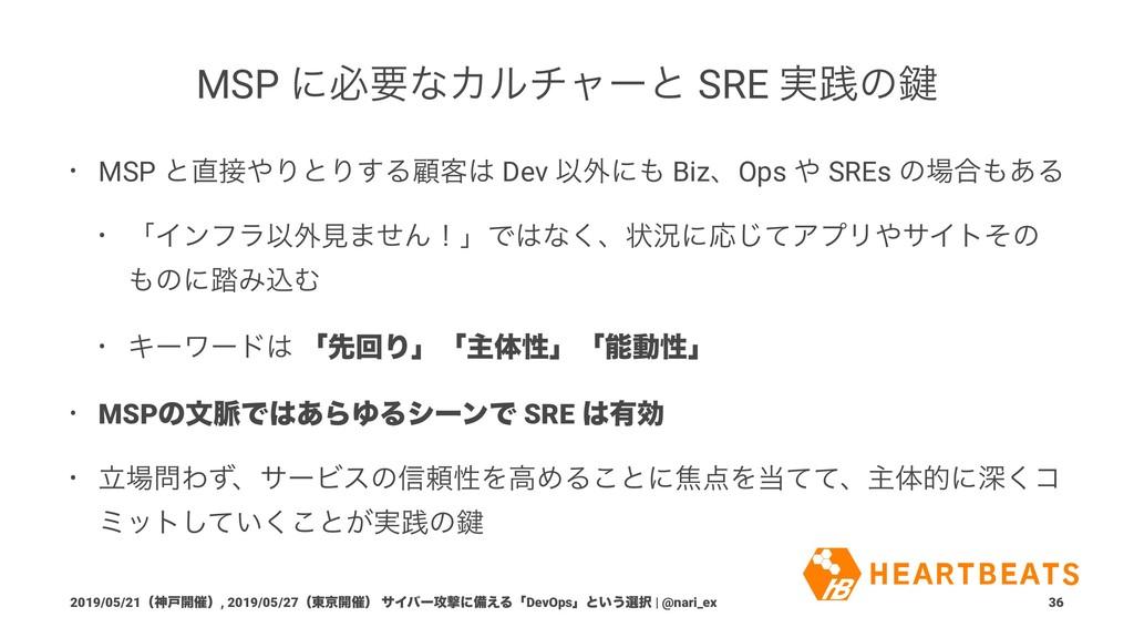 MSP ʹඞཁͳΧϧνϟʔͱ SRE ࣮ફͷ伴 • MSP ͱΓͱΓ͢Δސ٬ Dev ...