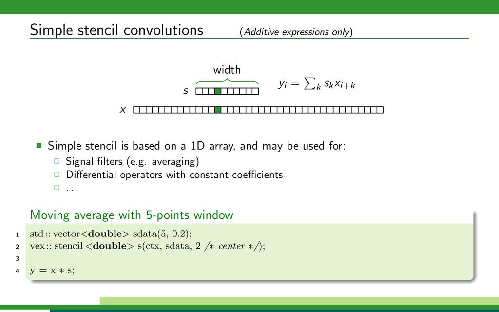 Simple stencil convolutions (Additive expressio...