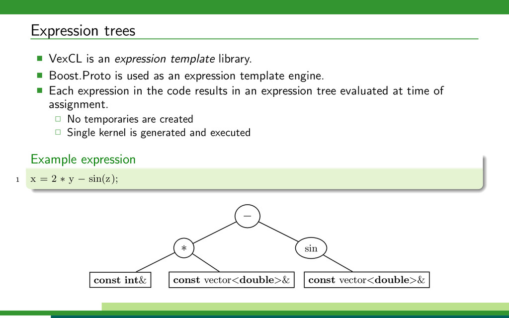 Expression trees VexCL is an expression templat...