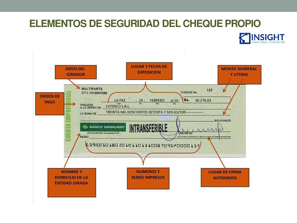 ELEMENTOS DE SEGURIDAD DEL CHEQUE PROPIO